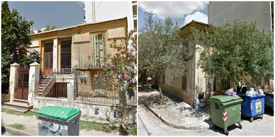 Τα κτήρια από αριστερά: Πατρ. Κυρίλλου 32 & Πραξιτέλους και Πατρ. Κυρίλλου 48 & I. Δραγούμη