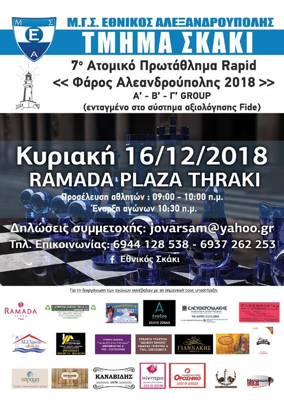 7ο Τουρνουά Γρήγορου Σκακιού (Rapid) στην Αλεξανδρούπολη
