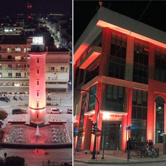 Αλεξανδρούπολη: Με πορτοκαλί χρώμα φωταγωγήθηκαν Φάρος & Δημαρχείο (video)